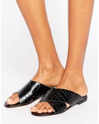 Dune - Labrinth Leather Slide Flat Sandals - Lyst