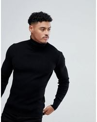 ASOS Muscle Fit Ribbed Roll Neck Sweater - Black