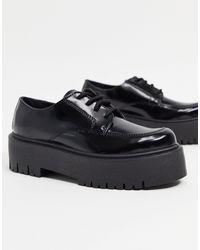 TOPSHOP Platform Lace Up Loafers - Black