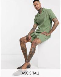 ASOS Tall - Pantaloncini slim corti - Verde