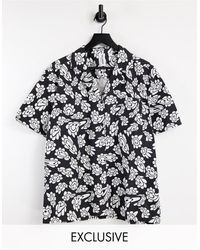 Collusion Camisa estampada con solapas - Negro