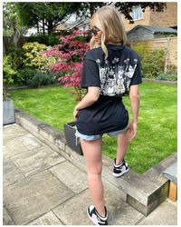 New Love Club Oversized T-shirt With Cats Back Print - Black