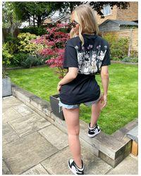 New Love Club T-shirt oversize con stampa con gatti sul retro nera - Nero