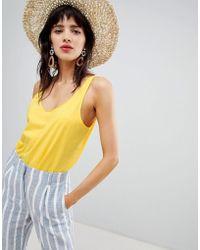 Mango - Round Neck Organic Cotton Oversized Tank In Yellow - Lyst