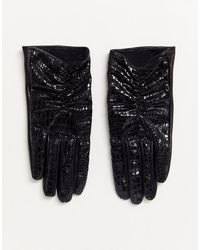 ASOS Touchscreen Handschoenen Van Vinyl En Leermix Met Krokodillenprint - Zwart