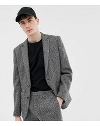 Noak Slim Fit Harris Tweed Suit Jacket In Grey - Gray
