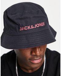 Jack & Jones Двусторонняя Панама Черного И Розового Цветов С Контрастным Логотипом -черный Цвет
