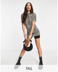 Brave Soul - Платье-футболка С Леопардовым Принтом И Контрастной Окантовкой Cola-коричневый Цвет - Lyst
