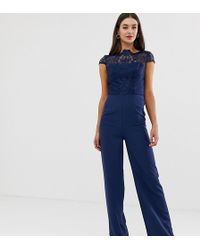 Chi Chi London High Neck 2 In 1 Lace Jumpsuit In Navy - Blue