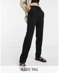 ASOS Asos Design Tall Linen Relaxed Tapered Trouser - Black