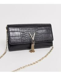 Valentino By Mario Valentino Audrey Black Croc Effect Foldover Cross Body Bag With Chain