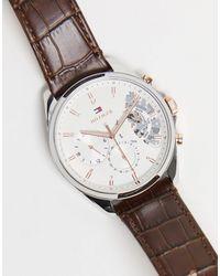 Tommy Hilfiger Мужские Часы С Открытым Механизмом И Кожаным Ремешком Коричневого Цвета 1710450-коричневый Цвет