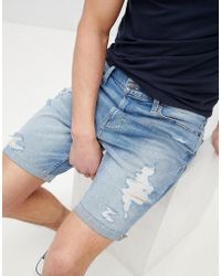 Hollister - Skinny Destroyed Denim Shorts In Mid Wash - Lyst