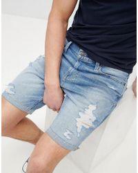 Hollister - Skinny Destroyed Denim Shorts In Mid Wash - Lyst