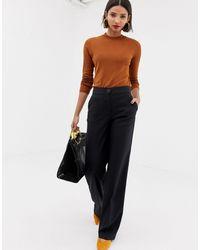 Mango Dark Check Wide Leg Pants - Gray
