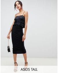 ASOS Asos Design Tall High Waisted Longerline Pencil Skirt - Black