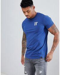 11 Degrees Camiseta ajustada en azul con logo de