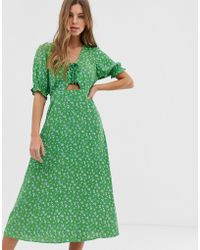 New Look Tie Front Midi Dress In Green Ditsy Floral Print