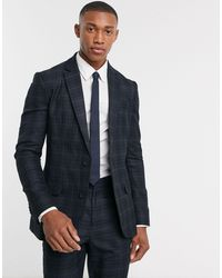 New Look Check Suit Jacket - Blue