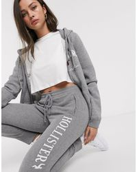 Hollister Classic sweatpants With Embroidered Logo-grey