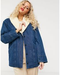 & Other Stories Denim Faux Shearling Trim Overcoat - Blue