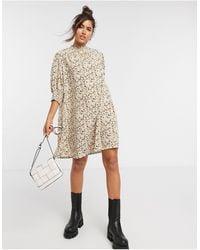 Vila - Mini Smock Dress With High Neck - Lyst