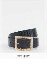 Glamorous Exclusive Faux Croc Waist And Hip Jeans Belt - Black