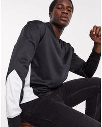 TOPMAN Черный Джемпер С V-образным Вырезом И Вставками -черный Цвет
