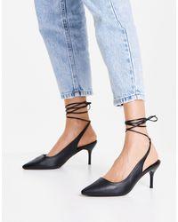 New Look Черные Туфли-лодочки С Завязками На Щиколотке -черный Цвет