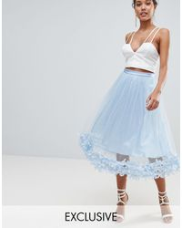 PrettyLittleThing Exclusive 3d Floral Tulle Skirt - Blue