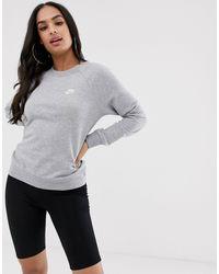 Nike - Grey Essentials Crew Neck Sweatshirt - Lyst