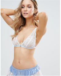 Glamorous Cornflower Lace Triangle Bra - Blue