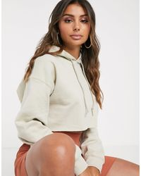 PrettyLittleThing Basic Oversized Cropped Hoodie - Natural