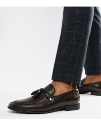 ASOS - Wide Fit Loafers In Brown Faux Leather With Tassel Detail - Lyst