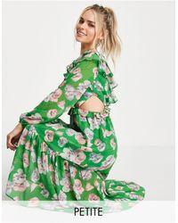 Miss Selfridge Vestido midi con diseño estampado, volantes y abertura - Verde