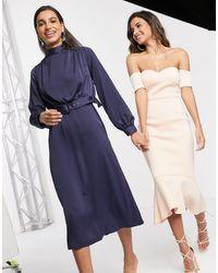Closet High Neck Belted Midi Dress - Blue