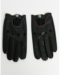 ASOS – Touchscreen Fahrerhandtasche aus schwarzem Leder mit hellbrauner Paspelierung