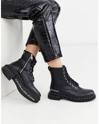 Calvin Klein Nannie Studded Chunky Lace Up Ankle Boots - Black