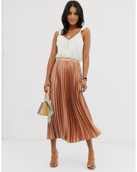 ASOS Satin Pleated Column Midi Skirt - Natural