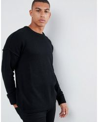 Another Influence Drop Shoulder Knitted Sweater - Black