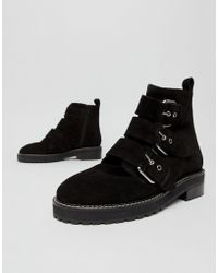 Office - Artillery Chunky Black Suede Three Buckle Boots - Lyst