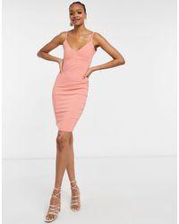 Vesper Коралловое Облегающее Платье Миди На Бретельках -оранжевый Цвет