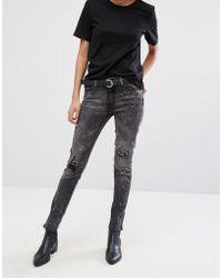 Pieces - Rika Raw Hem Skinny Jeans - Lyst