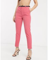 Stradivarius Belted Tailored Pants - Pink