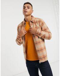 River Island Long Sleeve Zip Through Check Shirt - Orange