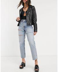 TOPSHOP – Dad-Jeans mit Bleach-Waschung - Blau