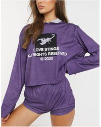 Adolescent Clothing Love stings - Hoodie confort - Violet