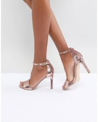 ALDO - Fiolla Rose Gold Sequin Heeled Sandal - Lyst