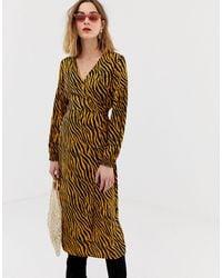 Pieces Zebra Print Wrap Midi Dress - Multicolor