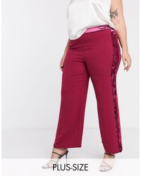Simply Be Velour Trim Trousers - Red